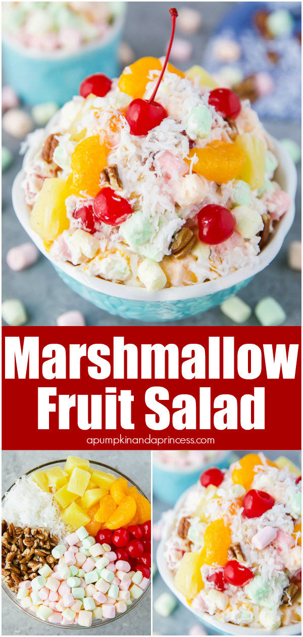Classic ambrosia fruit salad with marshmallows