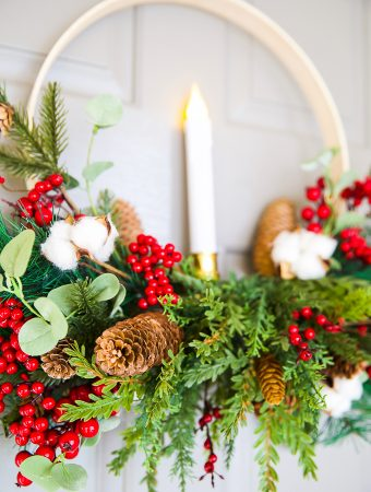 DIY Embroidery Hoop Christmas Wreath with a flameless candle