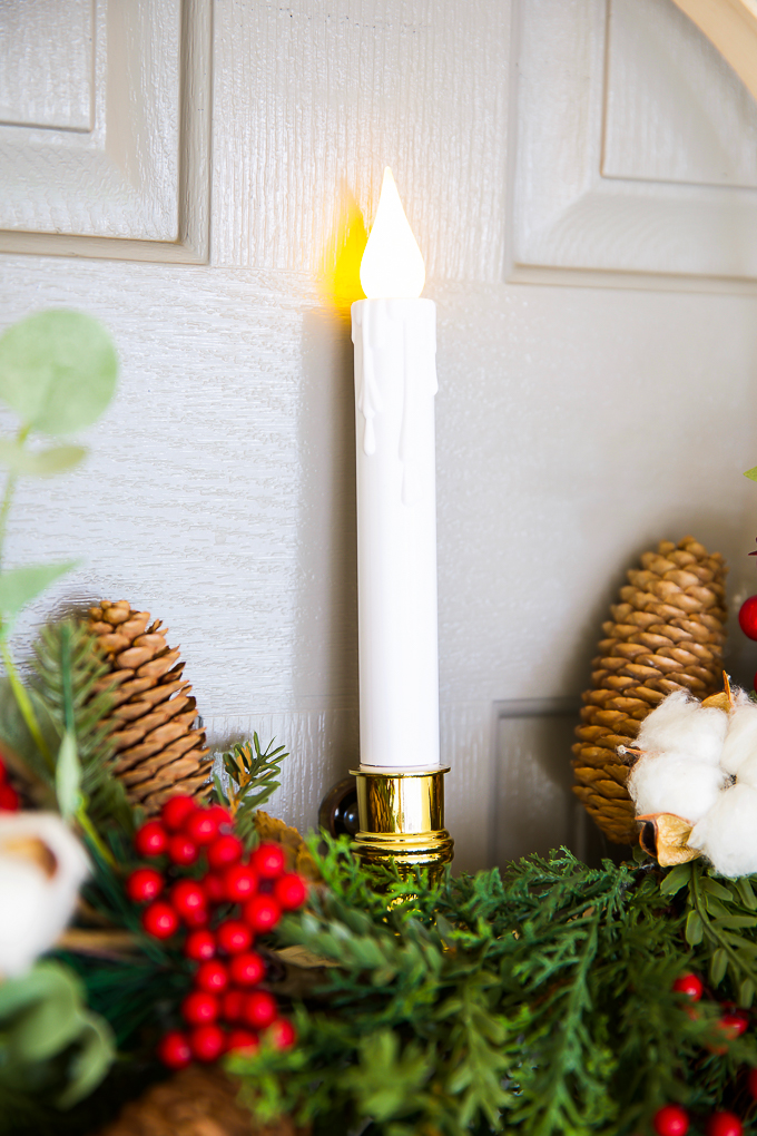 Flameless candle wreath ideas