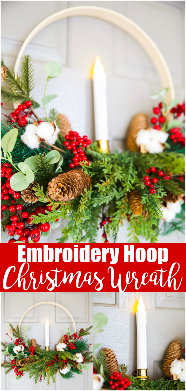 How to make an Scandinavian inspired embroidery hoop Christmas wreath