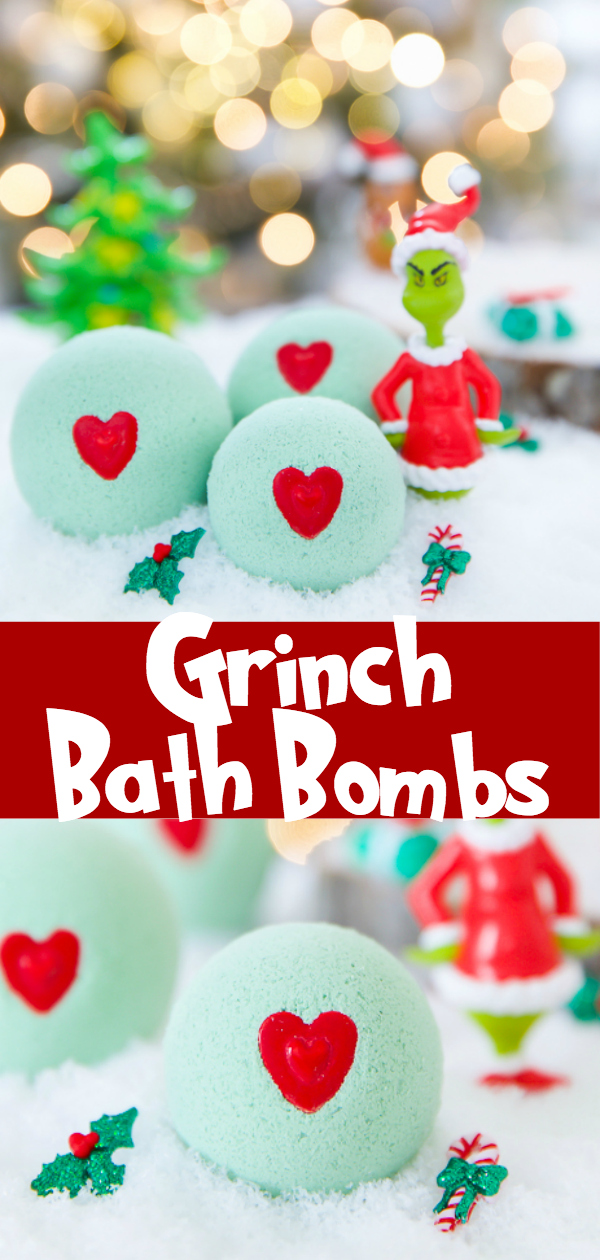 Christmas bath bombs for kids - how to the Grinch stole Christmas DIY peppermint bath bomb