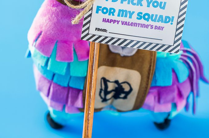 Fortnite classroom Valentine's Day gift - pickaxe pencils and erasers with printable tag