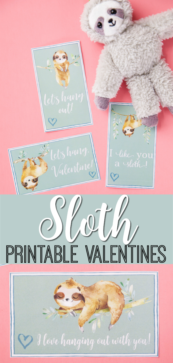 Printable Sloth Valentines Cards and gift ideas