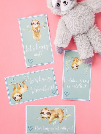 Download and print these adorable Sloth valentines to give to classmates and friends