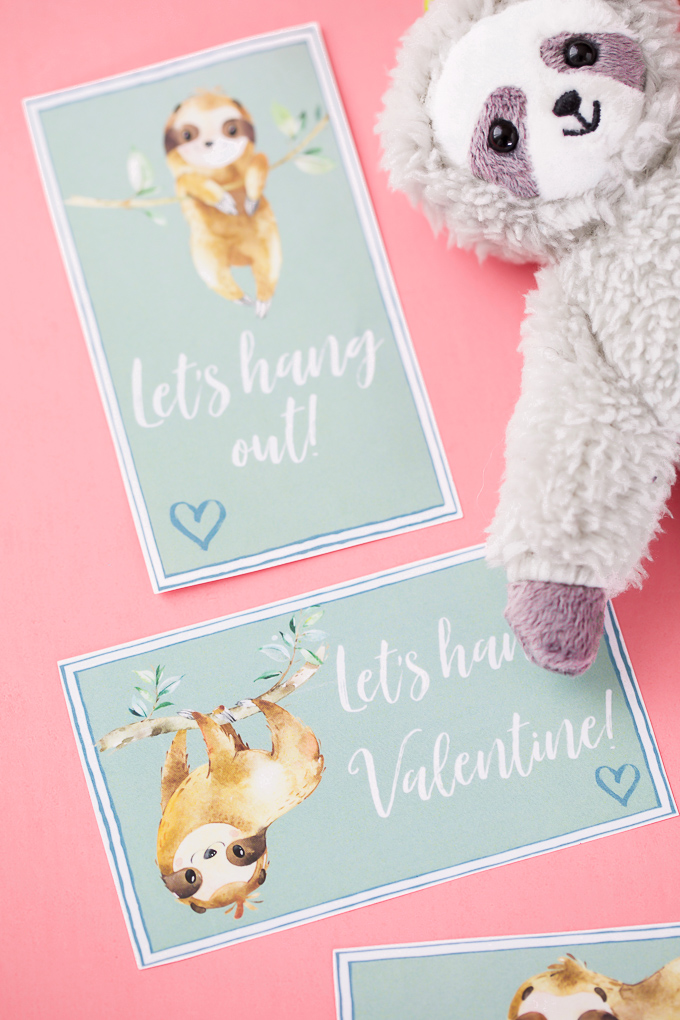 Printable Sloth Valentine's for kids