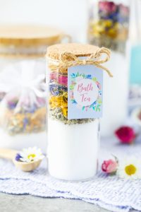 Test tube bath tea salts made with dried flowers