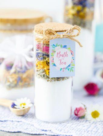 Test tube bath tea salts made with dried flowers