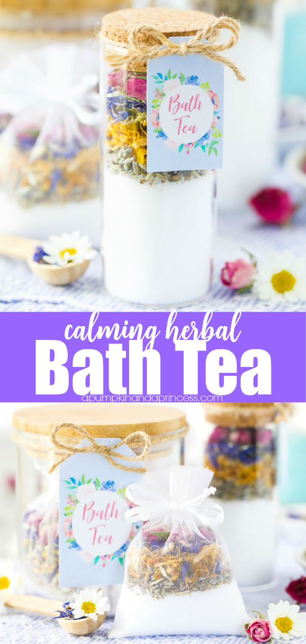 Create a relaxing floral bath tea made with epsom salt, dried flowers, and essential oils