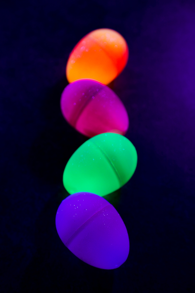 host a nighttime egg hunt with glow sticks and plastic eggs