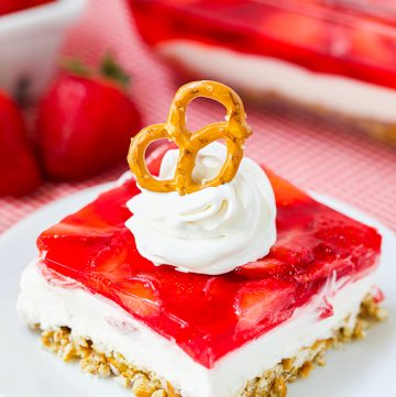 Sweet and salty classic strawberry pretzel salad dessert recipe
