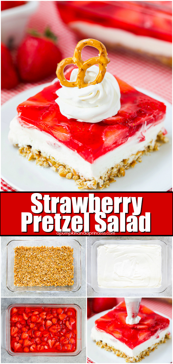 A classic strawberry jello pretzel dessert recipe - perfect for holiday gatherings, potlucks, and bbqs.
