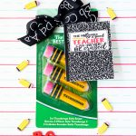 Easy teacher gift idea - notebook pattern printable tag