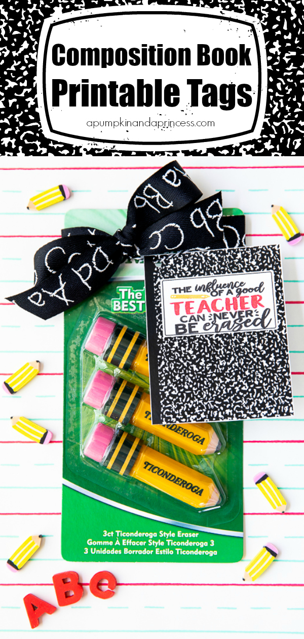 Teacher quote composition book printable tag