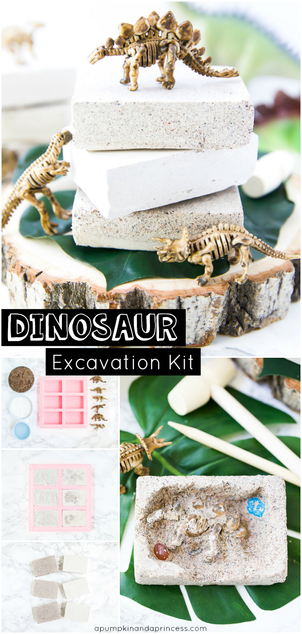 Kids will love these DIY dinosaur dig excavation kits! Easy to make and great party favors to give aspiring paleontologist!
