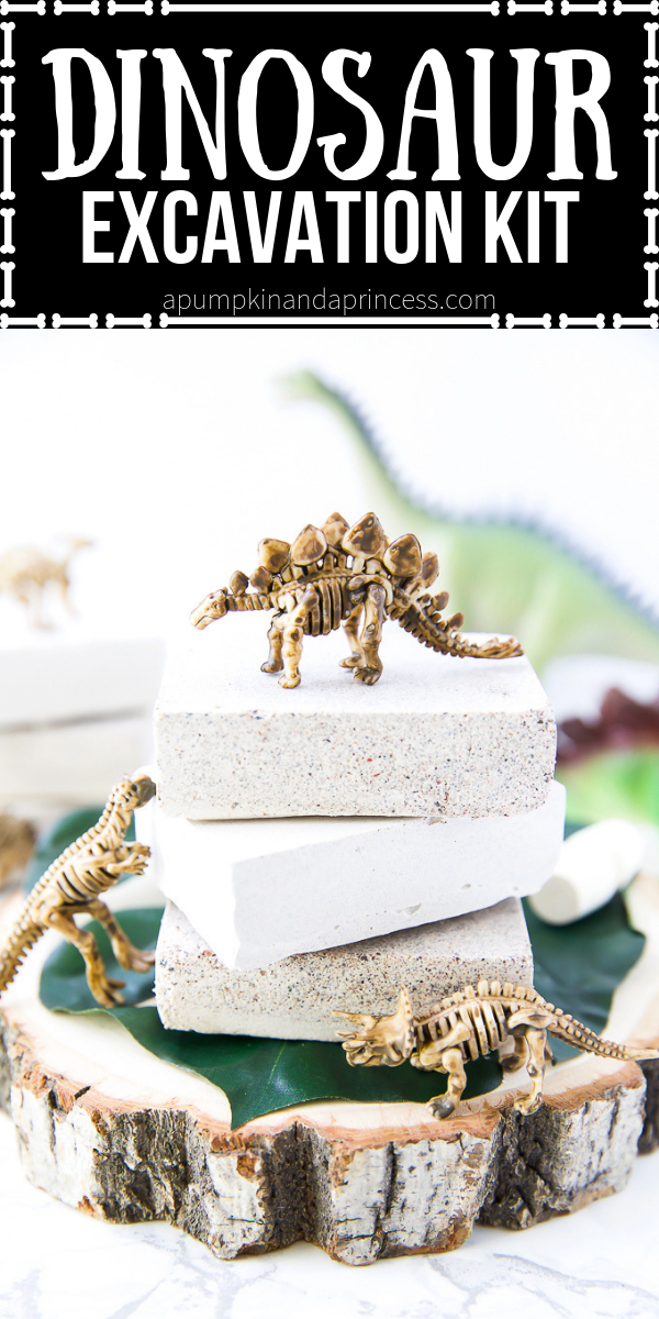 Fun dinosaur craft idea for kids! Make these excavation kits with fossils and gems inside in few simple steps