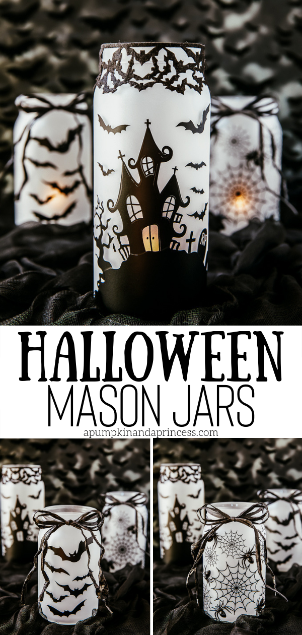 DIY Halloween mason jars to decorate your mantel, Halloween tablescape, or front porch.