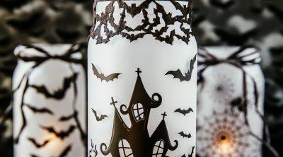 DIY Spooky glowing haunted house mason jar Halloween craft