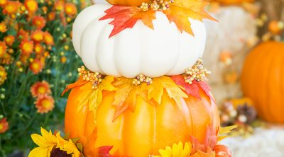 Fall Pumpkin Topiary with Sunflowers