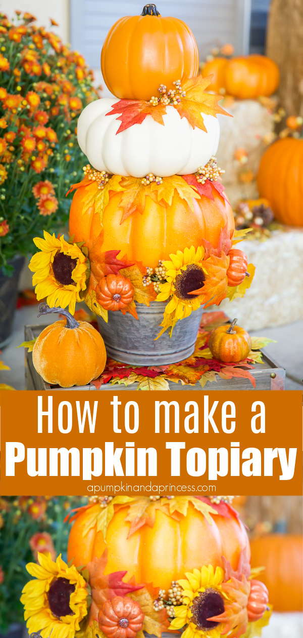 How to make a stacked pumpkin topiary using craft pumpkins