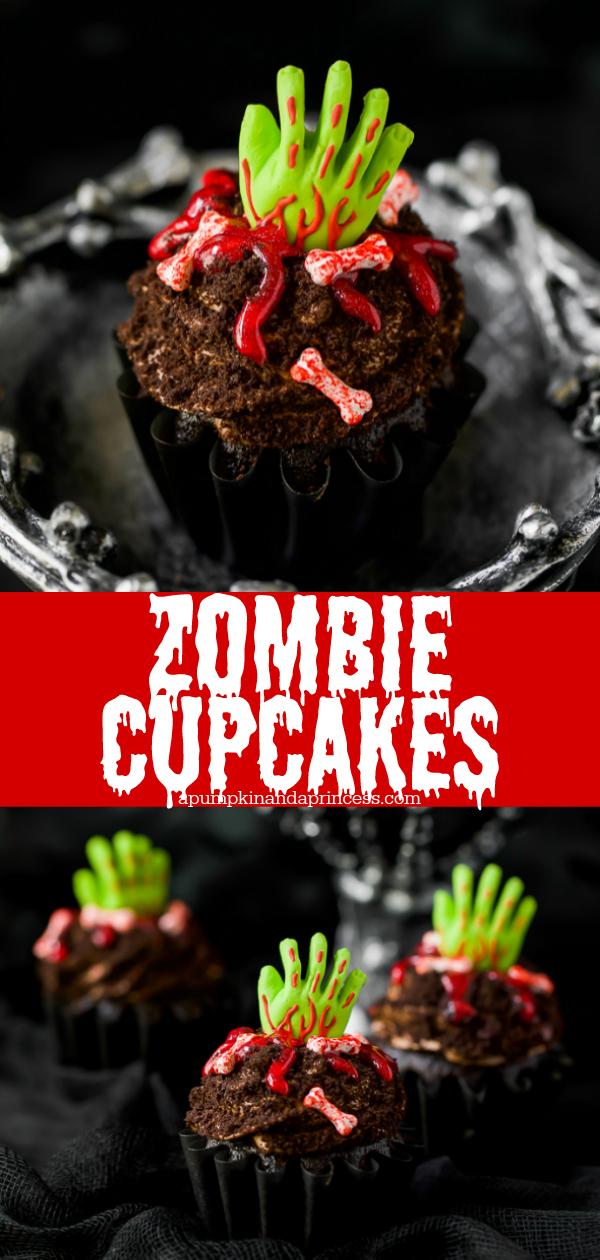 Zombie Cupcakes - chocolate cupcakes topped with chocolate frosting, oreo crumbs, green zombie hand decoration, red icing, and candy bones.