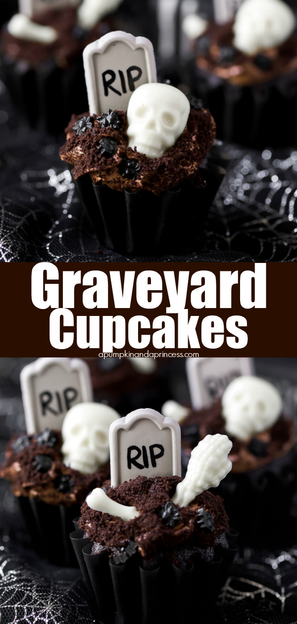 Halloween Cupcakes - easy chocolate cupcake recipe decorated with graveyard candy bones and a tombstone.