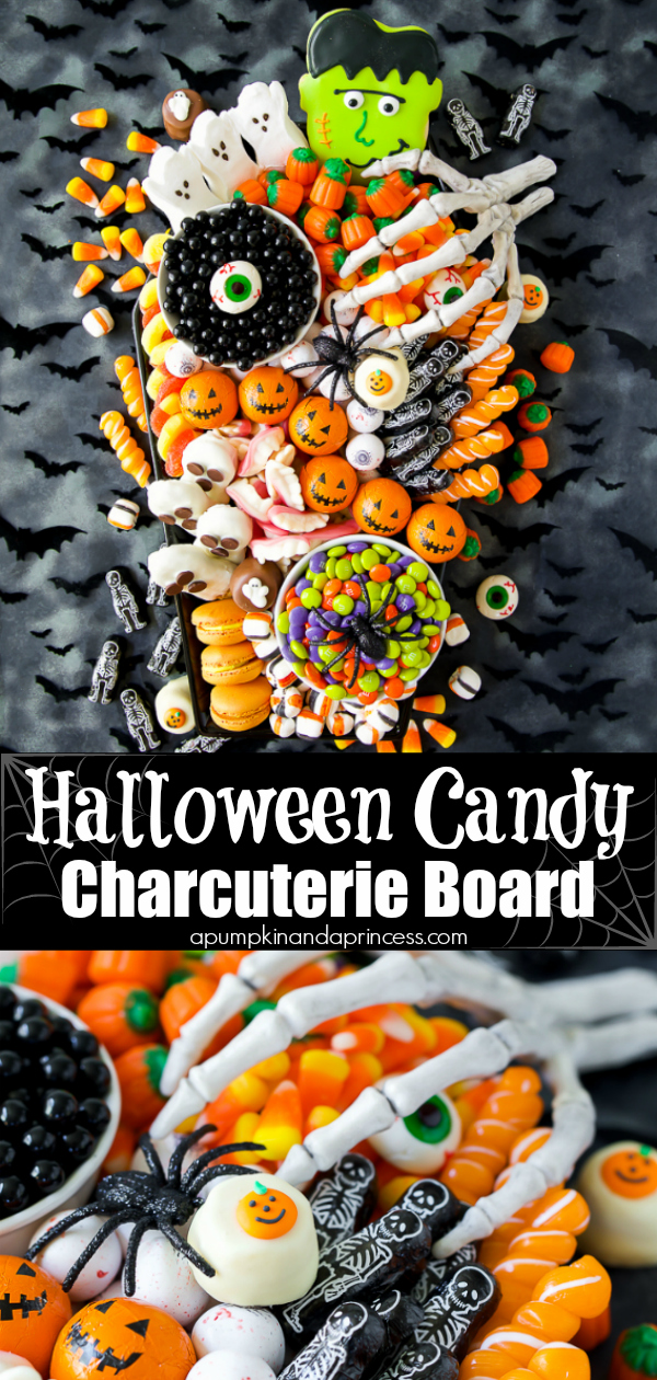How to make the ultimate Halloween candy charcuterie board with spooky treats everyone will love! This candy board is great for a Halloween party or movie night.
