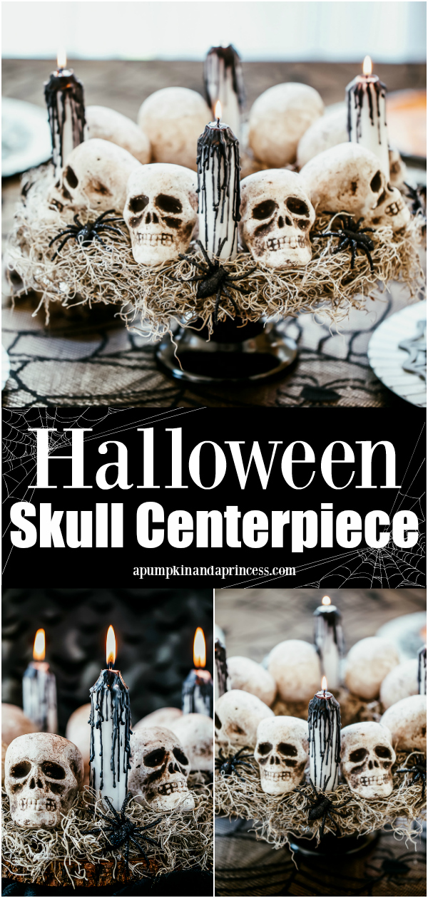 How to make a skull centerpiece with bleeding candles for a black and white Halloween decorating theme