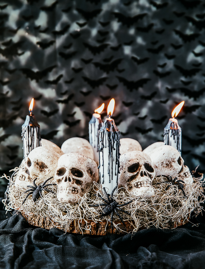 Halloween party table decorating ideas - skull centerpiece