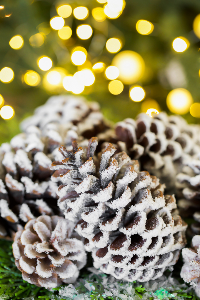 How to make snow covered pinecones to decorate a Christmas tree, garland, wreath, or table centerpiece.