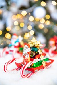 Santa candy cane sleigh with chocolate bars