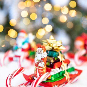 Santa candy cane sleigh with chocolate bars
