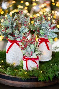 epsom salt mason jar Christmas centerpiece