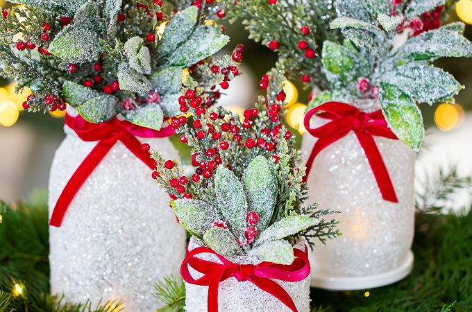 epsom salt mason jar Christmas centerpiece