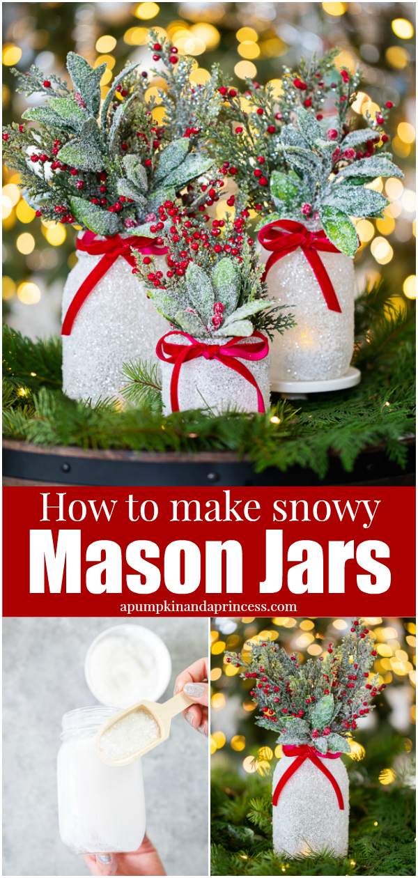 Epsom salt mason jars decorated with Christmas greenery and red berries