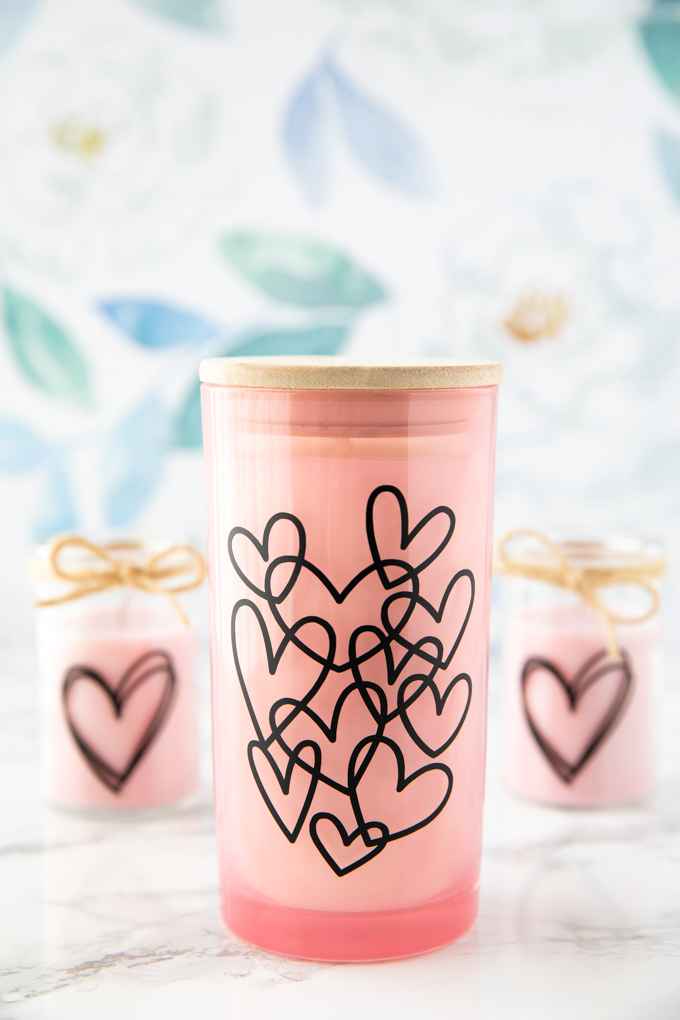 vinyl hearts candle craft