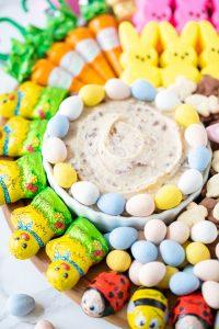 dessert dip made with Cadbury mini eggs for an Easter dessert board