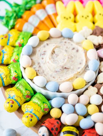 dessert dip made with Cadbury mini eggs for an Easter dessert board