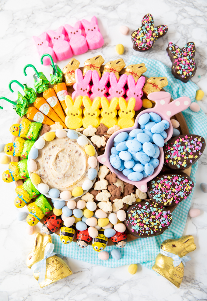 how to assemble a beautiful Easter platter with adorable candy and homemade recipes