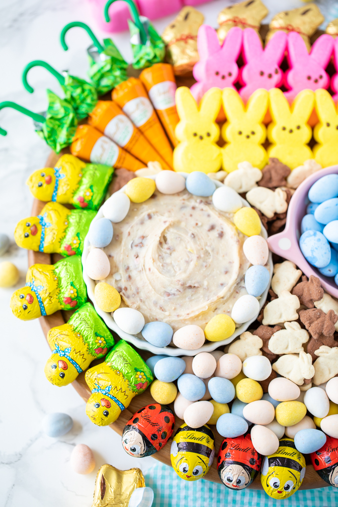 Dessert platter and dips for Easter