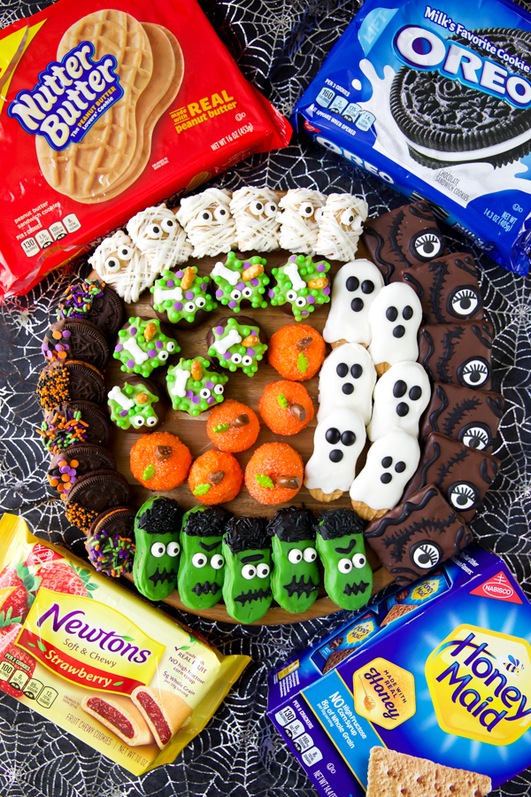 Halloween party food platter made with easy cookie decorating ideas