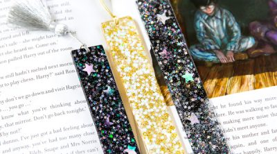 galaxy and gold star bookmarks made with metallic tassels