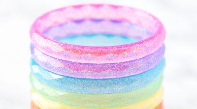 stacked rainbow resin bangle bracelets