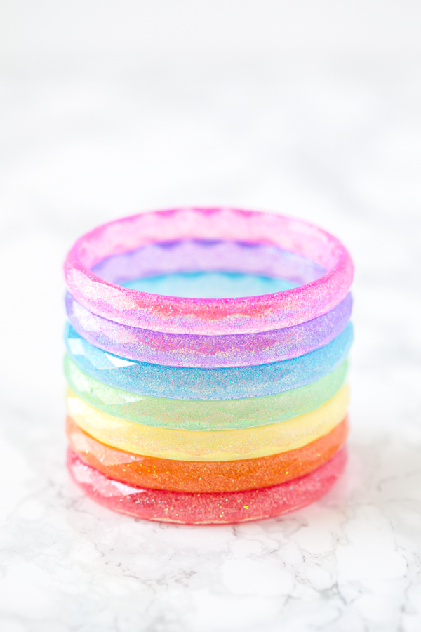 stacked rainbow resin bangle bracelets