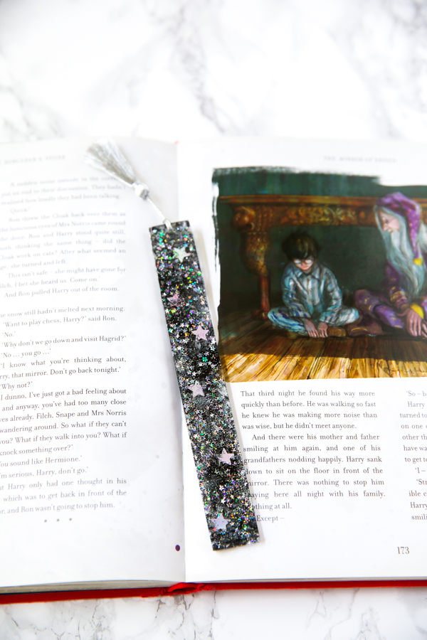 black and silver glitter with stars resin bookmark