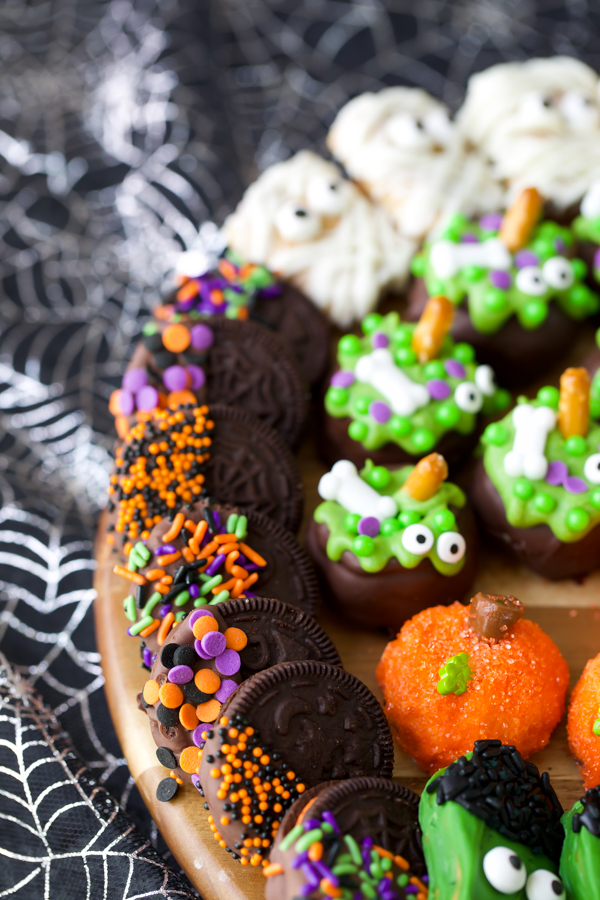 OREO cookies dipped in chocolate with Halloween sprinkles
