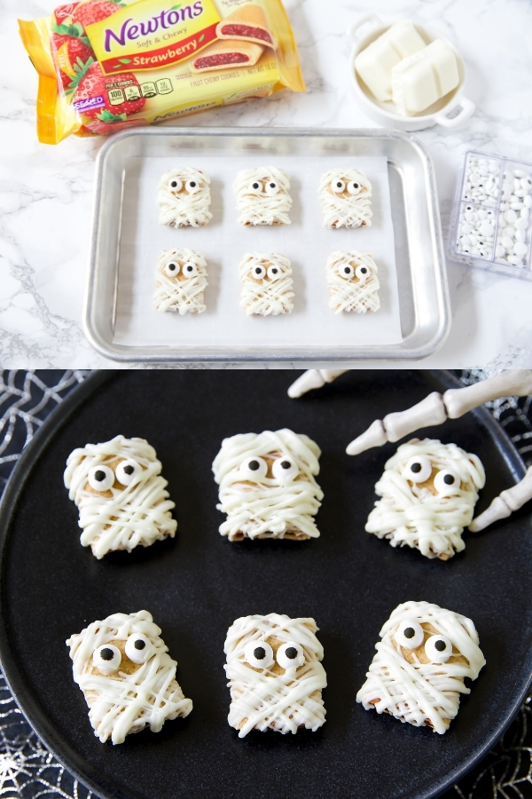 Newtons cookies covered in white chocolate and candy eyes