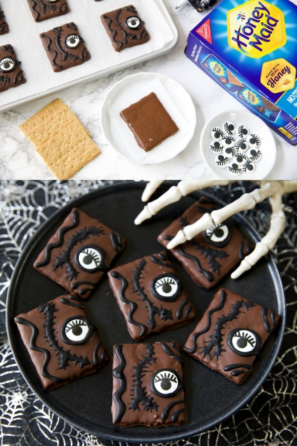 hocus pocus spell book inspired chocolate covered graham crackers decorated with black icing and candy eyes