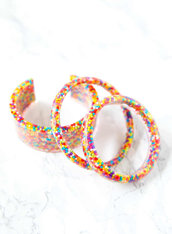 resin bracelets made with colorful sprinkles