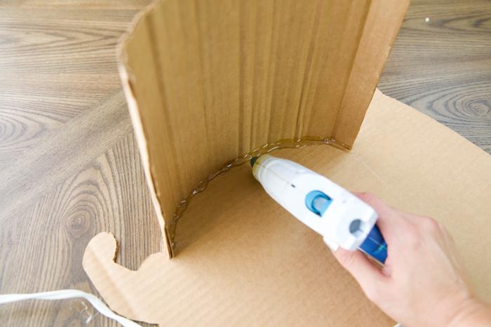 how to hot glue cardboard