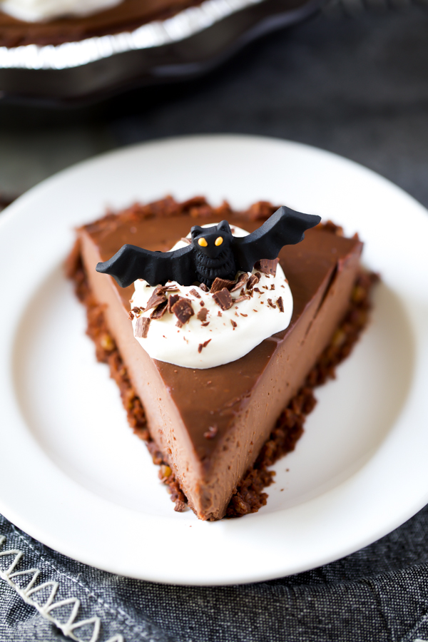 Halloween pie recipe with icing bat decoration